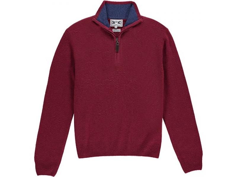 Oxford Shirt Co Berry 1/4 Zip Wool Blend Mens Jumper