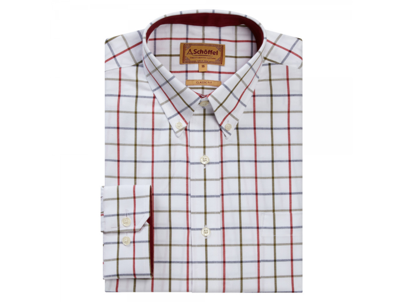 Schoffel Brancaster Shirt Red/Navy /Olive