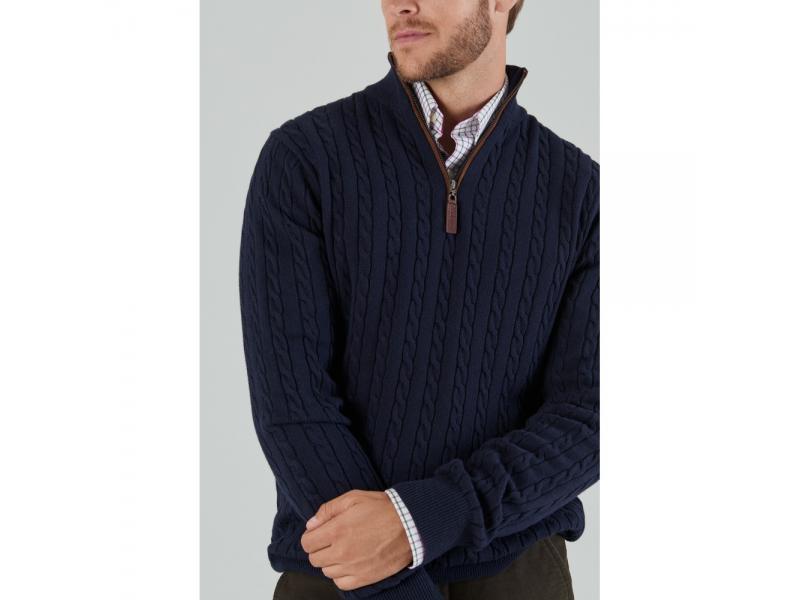 Schoffel Cotton Cashmere Cable Knit 1/4 Zip