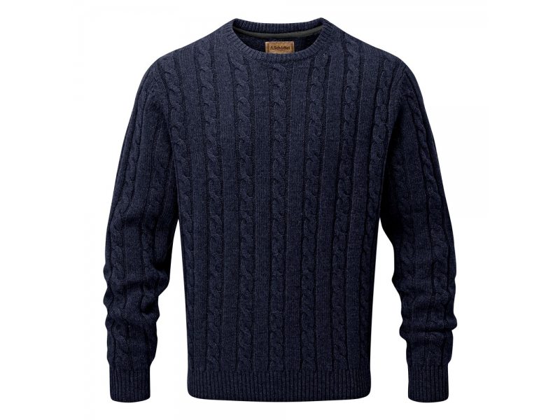 Schoffel Lambswool Chunky Cable Crew Jumper Navy